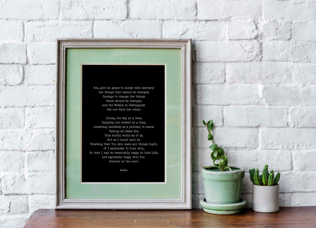 The Serenity Prayer Quote Print Unframed in Black & White, Christian Wall Art Inspirational Quote - BookQuoteDecor
