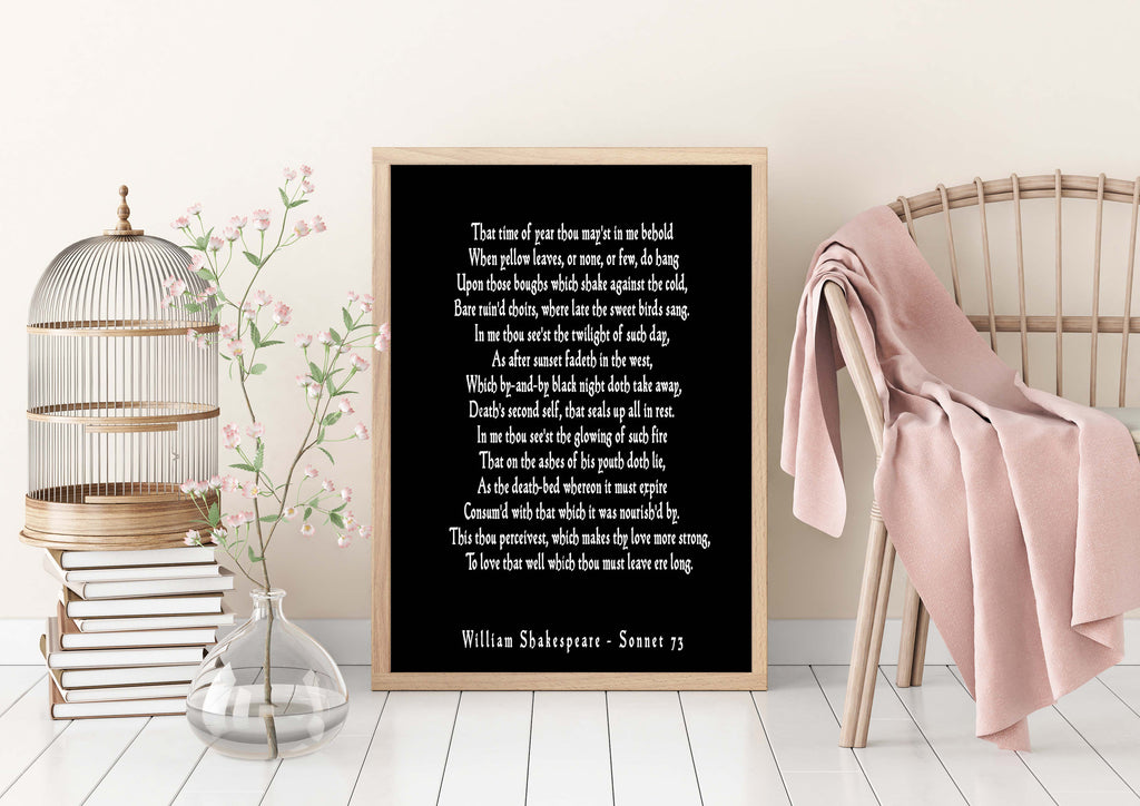 Sonnet 73 Shakespeare Love Poem, That Time Of Year Thou Mayst In Me Behold Shakespeare Wall Art for Bedroom Decor, Love Poetry Art Unframed - BookQuoteDecor