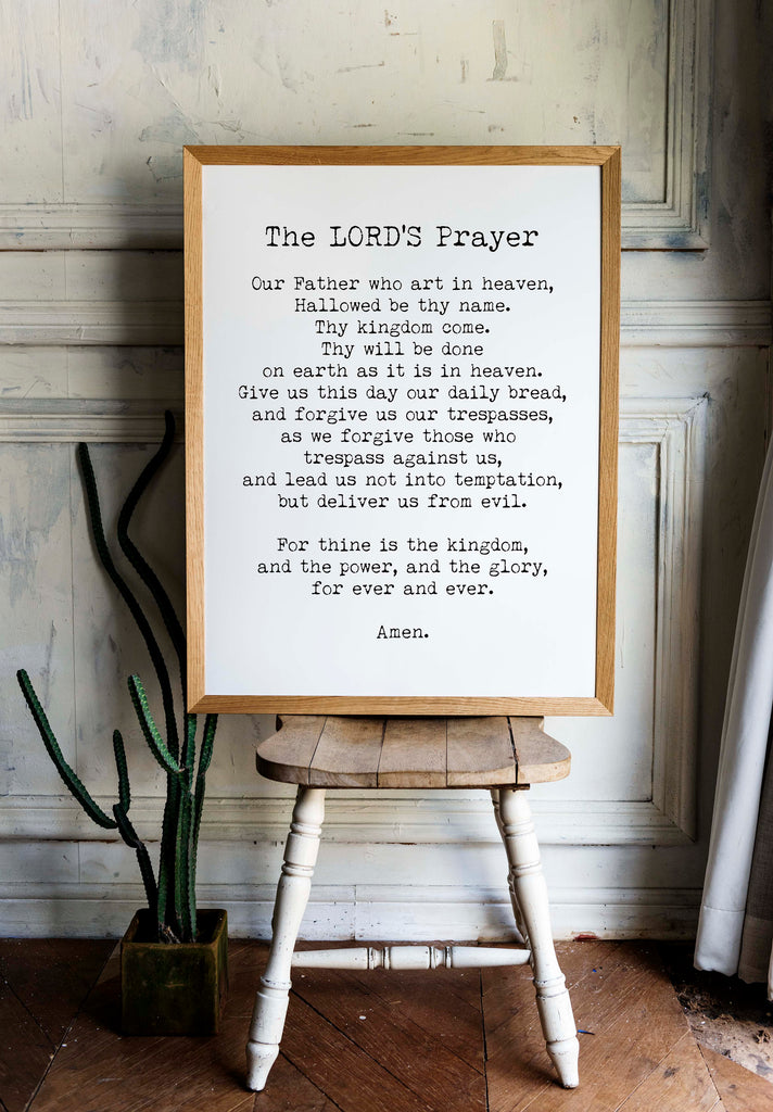 The LORD'S Prayer Quote Print in Black & White, Christian Wall Art Inspirational Quote - BookQuoteDecor