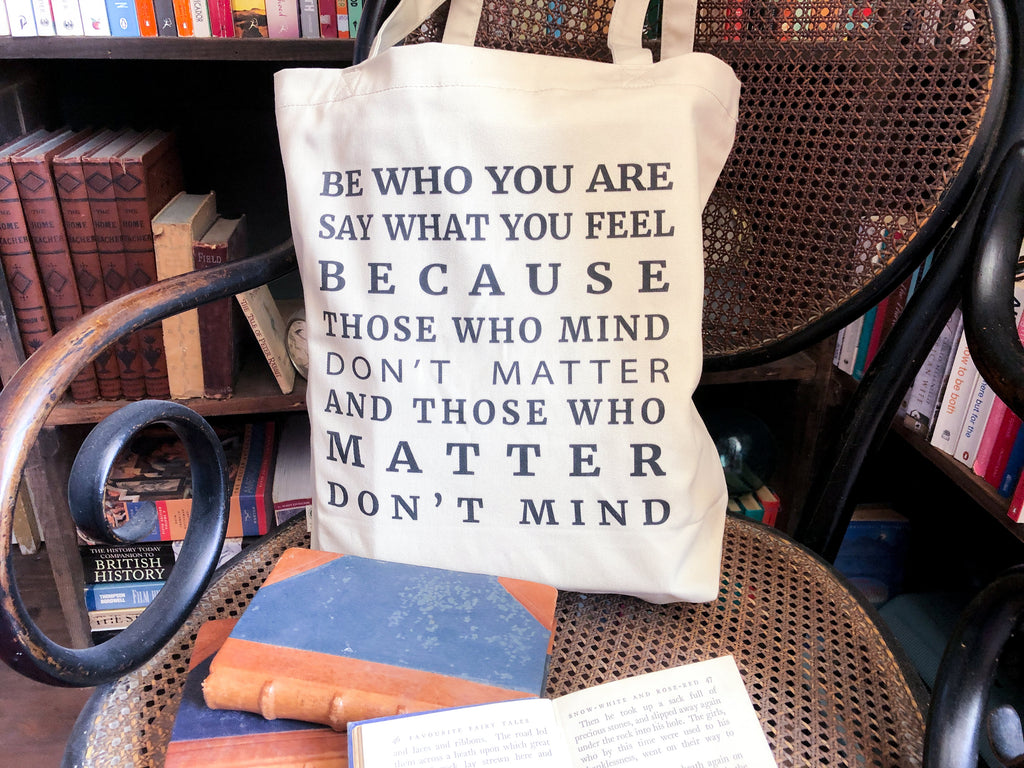 Be Who You Are Dr Seuss Quote Tote Bag - BookQuoteDecor
