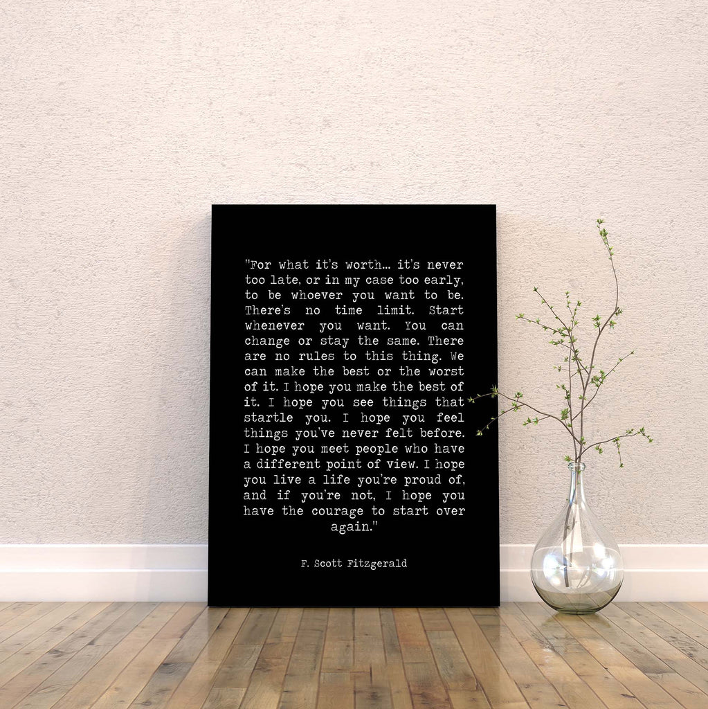 For What It's Worth Canvas Art Print F Scott Fitzgerald - BookQuoteDecor