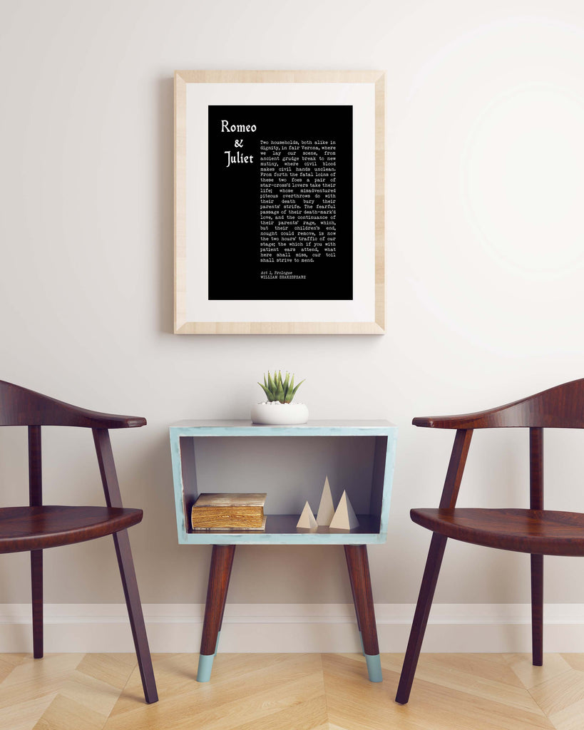 Romeo and Juliet Prologue Print, William Shakespeare Black & White Wall Art Prints, Shakespeare Quote Love Print Unframed - BookQuoteDecor