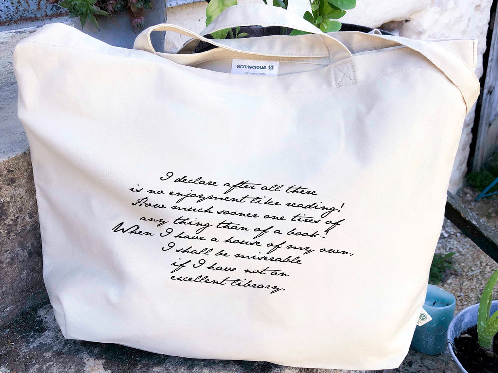 I Declare Pride & Prejudice Canvas Tote Bag, Jane Austen Library Quote Organic Grocery Bag Canvas, Everyday Large Literary Eco Book Tote
