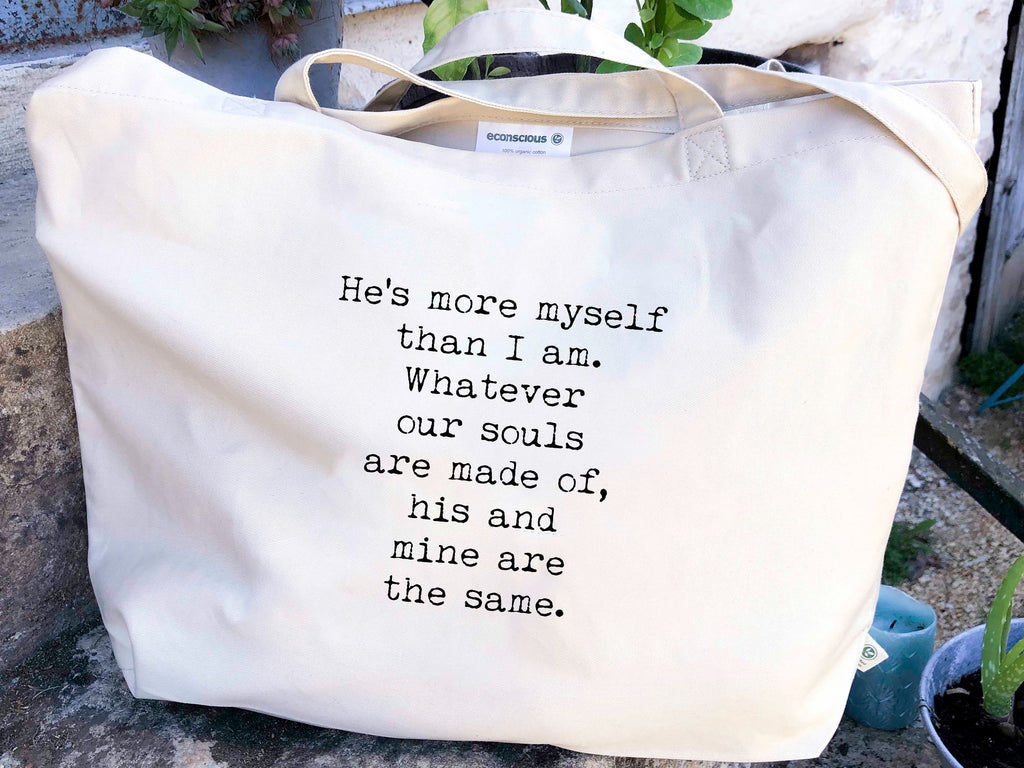 Wuthering Heights Organic Cotton Canvas Tote Bag, He's More Myself Than I am Quote - BookQuoteDecor