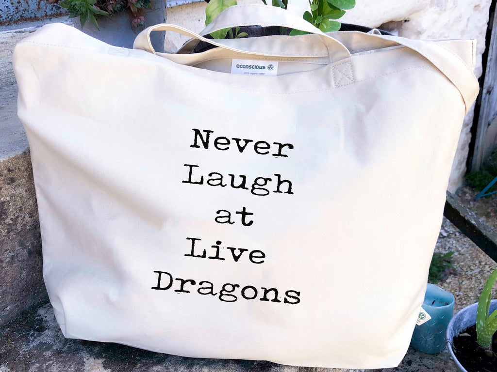 Never Laugh At Live Dragons Canvas Tote Bag, 100% Organic Cotton - BookQuoteDecor