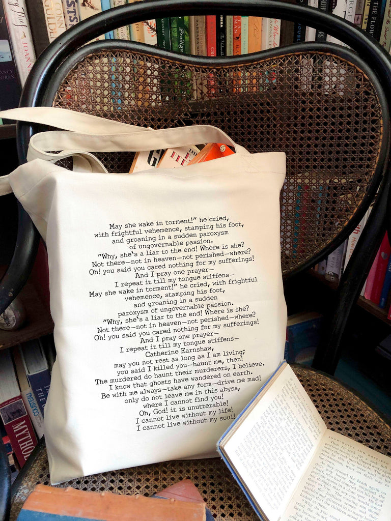 Wuthering Heights Quote Tote Bag, Emily Bronte 100% Organic Cotton Book Quote Library Bag - BookQuoteDecor