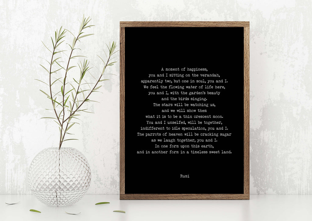 RUMI A Moment of Happiness Poetry Print, Love Poem Engagement Gift Idea, Poetry Quote Art Anniversary Present Unframed - BookQuoteDecor