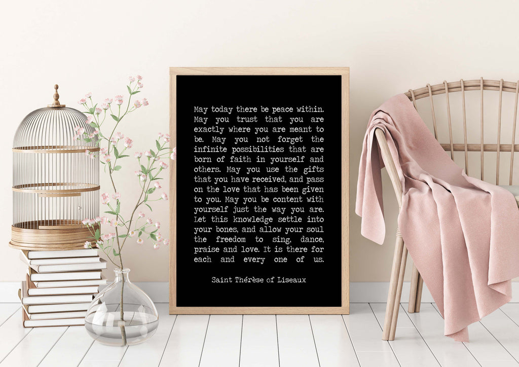 St Therese of Lisieux Peace Quote Print in Black & White, May Today There Be Peace Within Unframed Inspirational Quote Wall Art Print - BookQuoteDecor