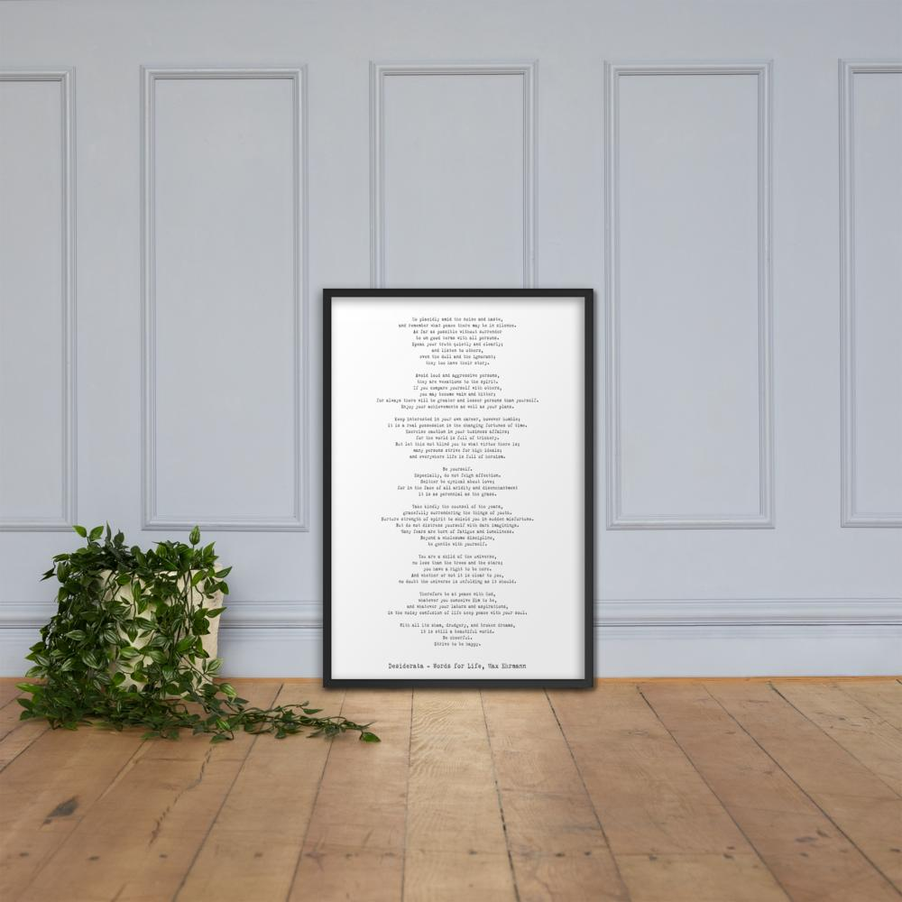 Desiderata Framed Print - BookQuoteDecor