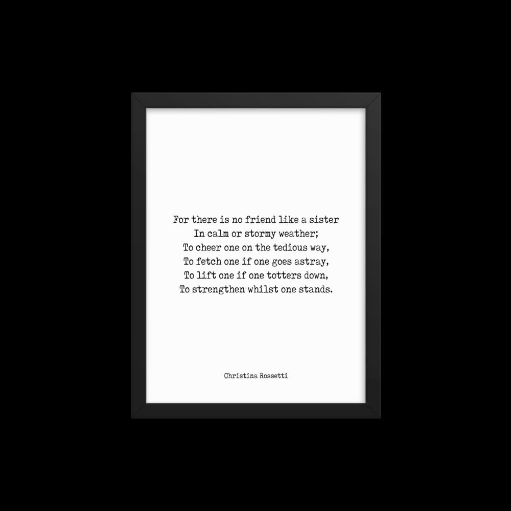 Christina Rossetti Framed Art - Sister Poem Print, Sisters quote print, Christina Rossetti sister gift wall art, No Friend Like A Sister - BookQuoteDecor