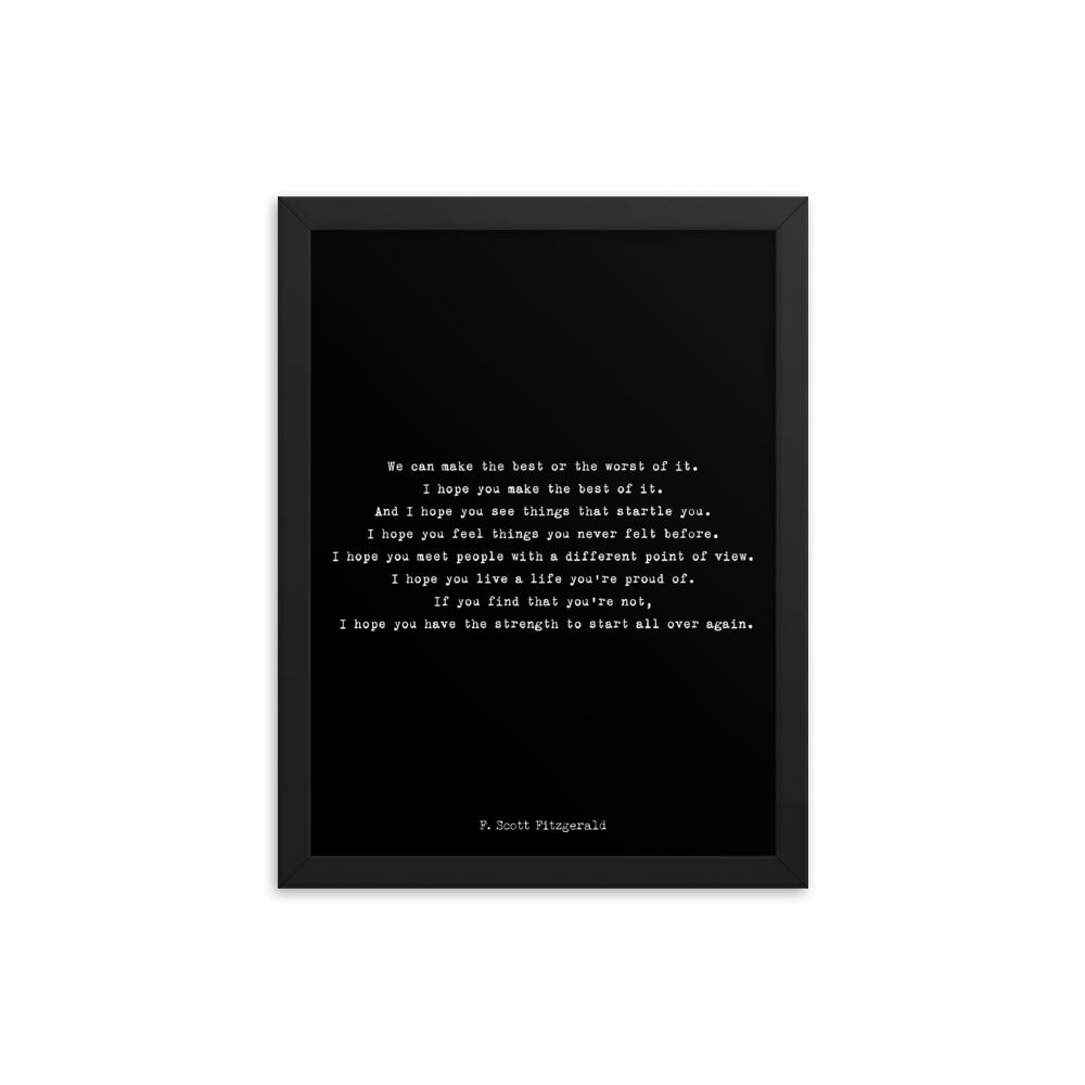 F Scott Fitzgerald Framed Art Print - BookQuoteDecor
