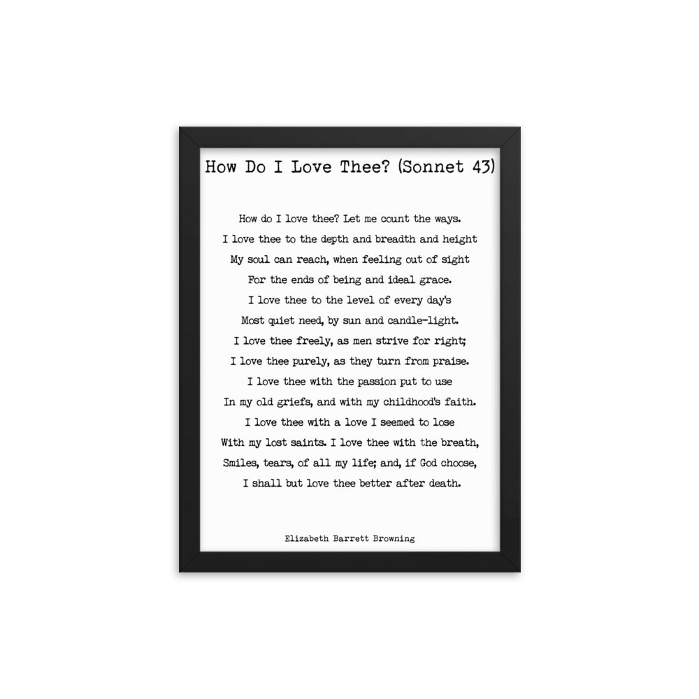 Framed Art How Do I Love Thee Framed Print Elizabeth Barrett Browning - BookQuoteDecor