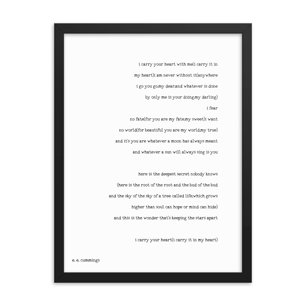e.e. cummings Print I Carry Your Heart - BookQuoteDecor