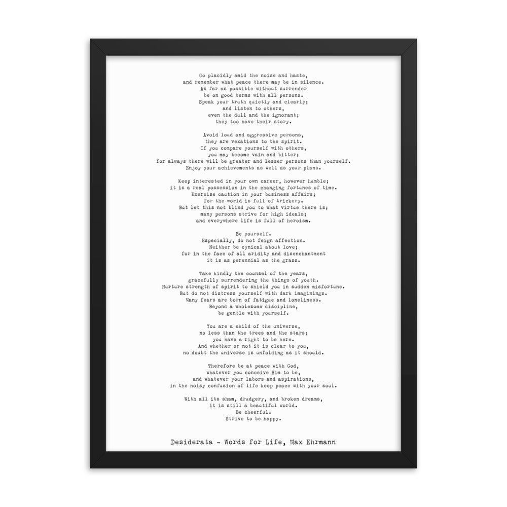 Desiderata Framed Art Print by Max Ehrmann - BookQuoteDecor