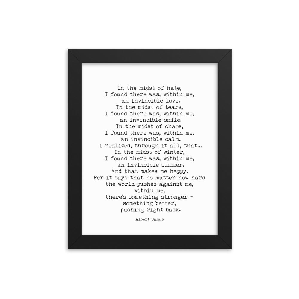 Invincible Summer Framed Wall Art Albert Camus - BookQuoteDecor