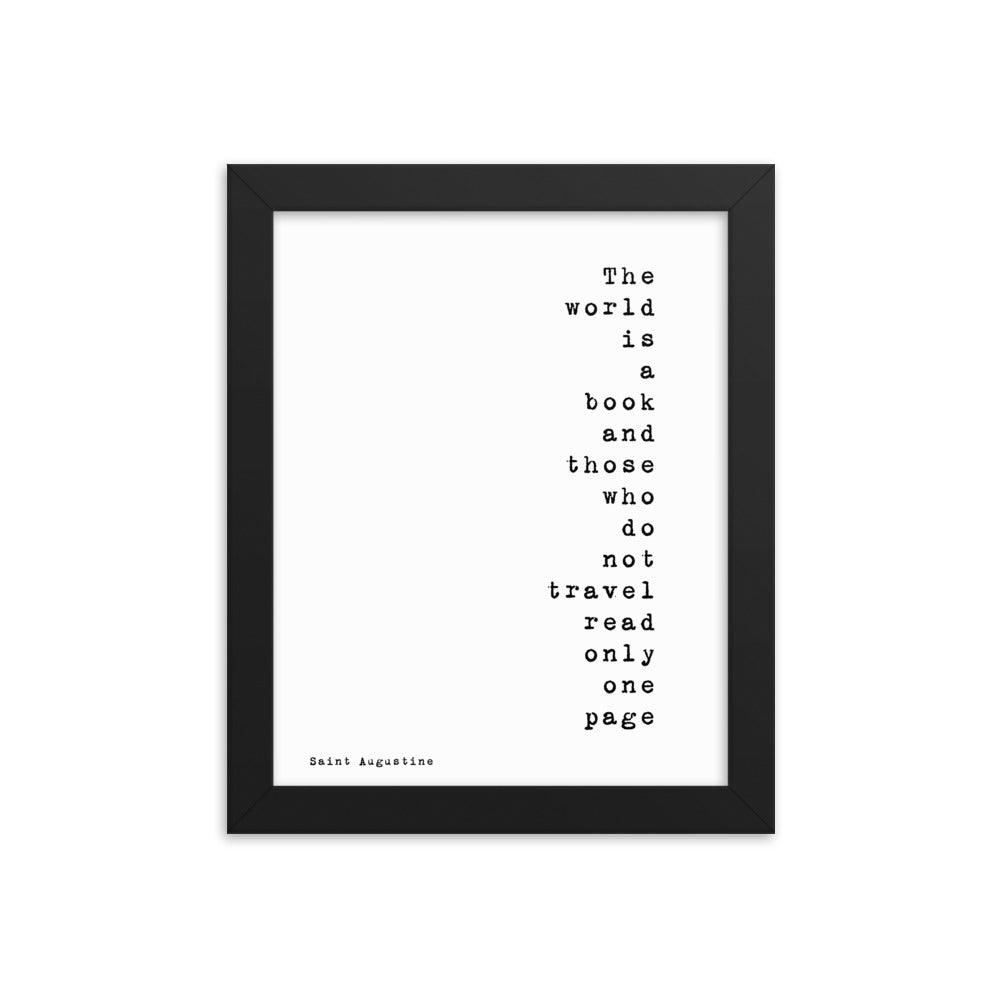 Framed Art The World Is A Book - BookQuoteDecor