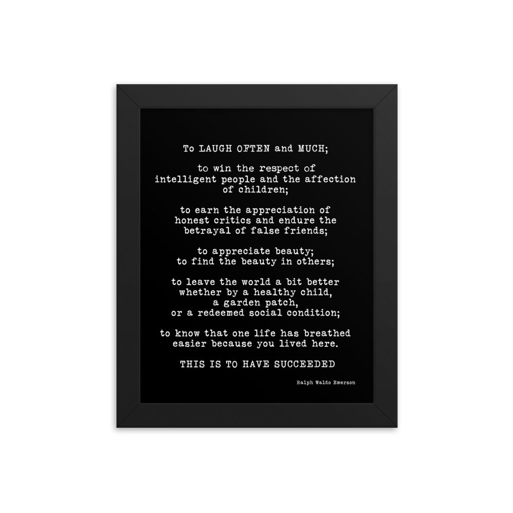 Ralph Waldo Emerson Framed Art -Inspirational Quote Print Featuring A Emerson Quote, Black & White Wall Art Quote Print, My Wish For You - BookQuoteDecor