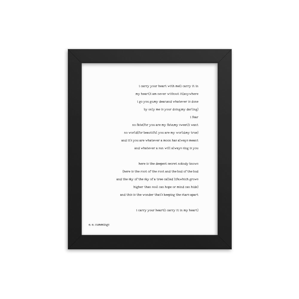 Framed i carry your heart Print EE Cummings - BookQuoteDecor