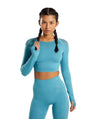 Vibe Fit Cyan / M Hexa Seamless Long Sleeve Top