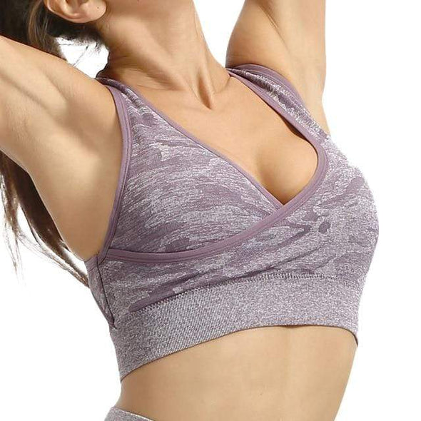Vibe Fit Lavender Purple / L Camo Connect Sports Bra