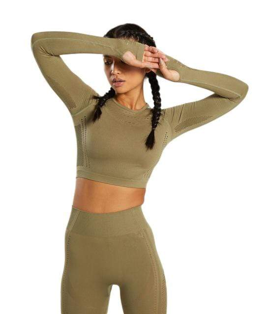 Vibe Fit Olive / S Hexa Seamless Long Sleeve Top