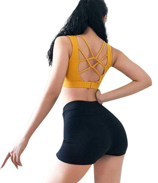 Vibe Fit yellow back buckle / L Flexi Down Sports Bra