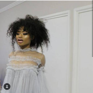 Nomalanga Shozi Grey tulle ruffle smocked dress with full sleeves