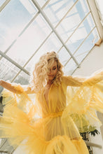 Load image into Gallery viewer, Sheer yellow tulle lingerie dress with ruffles