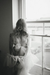 Sheer Vintage Inspired Bridal Boudoir Tulle Robe Dressing Gown with Ruffles