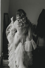 Load image into Gallery viewer, Sheer Vintage Inspired Bridal Boudoir Tulle Robe Dressing Gown with Ruffles