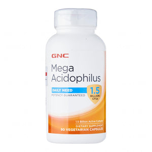 GNC MEGA ACIDOPHILUS 1.5 BILLION CFUs 90 CAPSULES