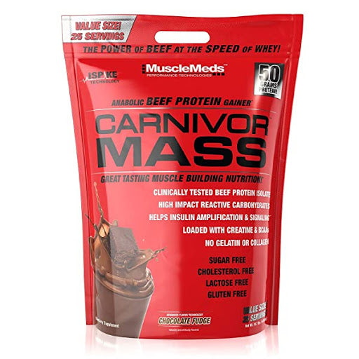 MUSCLEMEDS CARNIVOR MASS PROTEIN GAINER CHOCOLATE FUDGE - 10.7 LBS