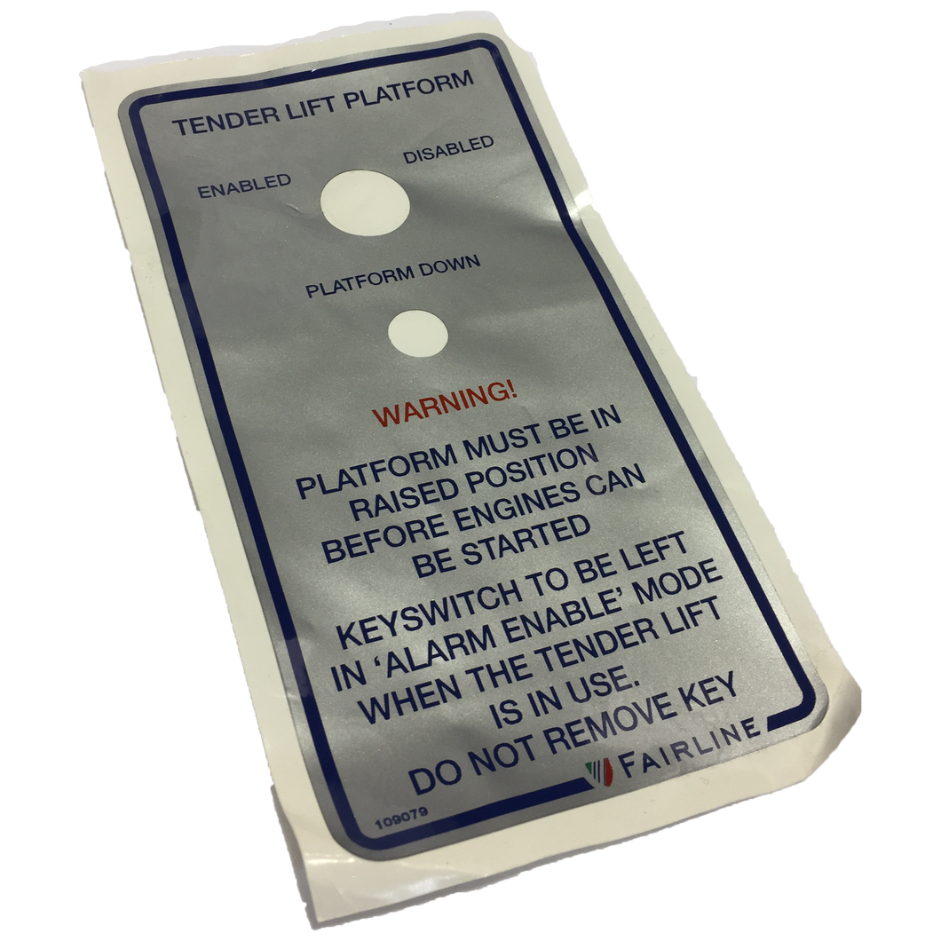 LABEL PLATFORM LIFT ALARM INSTRUCTION