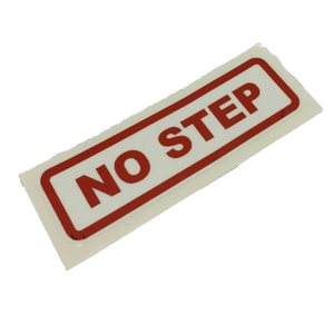 "STICKER ""NO STEP"" RED LETTERS/WHT B'"