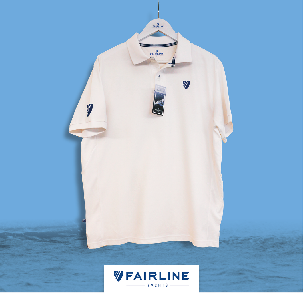 Men's White Jersey Polo