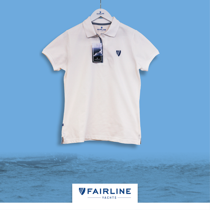 Women's White Jersey Polo