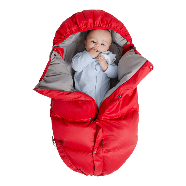 Mountain Buggy durable soft fleece lined sleeping bag with baby inside in colour red_red