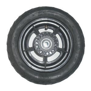 Mountain Buggy top view of replacment rear wheel for swift and duet buggy showing brake hub in black_black