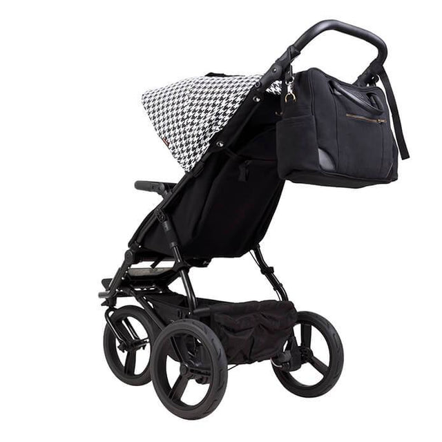 Mountain Buggy urban jungle luxury collection stroller in pepita black and white checkered colour comes with matching satchel attached to buggy_pepita
