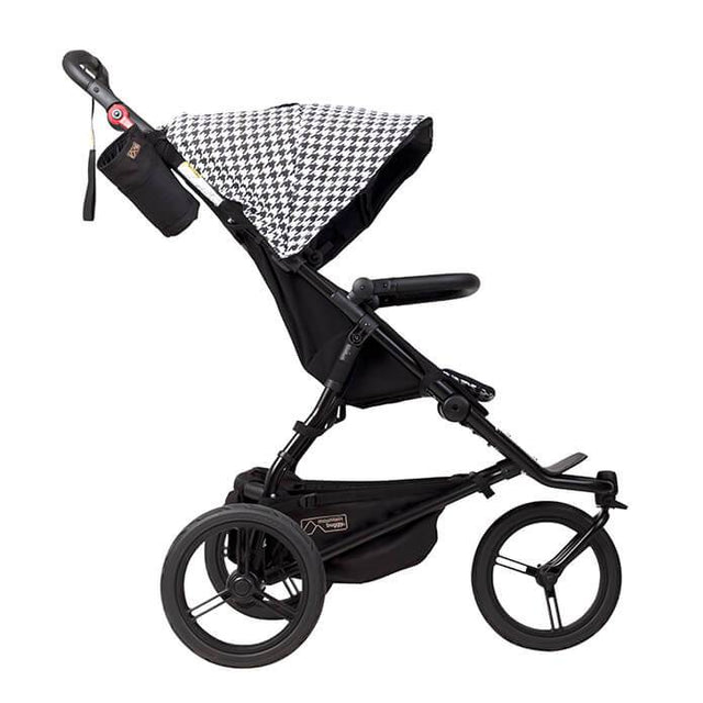 Mountain Buggy urban jungle luxury collection stroller in pepita black and white checkered colour side view_pepita
