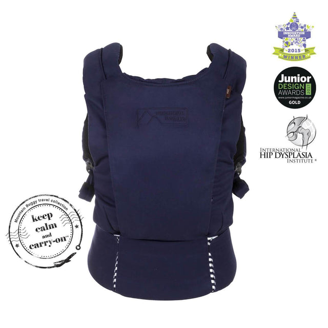 mountain buggy juno baby carrier in nautical blue colour has insert for infants_nautical