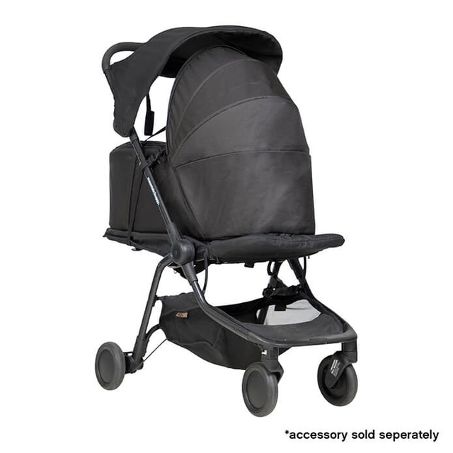 mountain buggy nano travel buggy in black colour with newborn cocoon_black