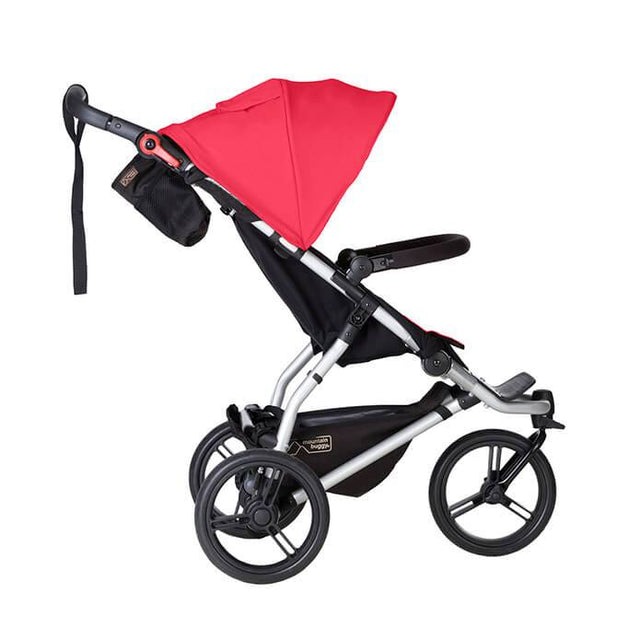 Mountain Buggy swift stroller in berry red colour side view_berry