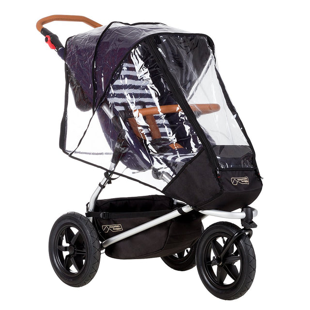 Mountain Buggy storm cover close up on an urban jungle luxury stroller in colour nautical_default