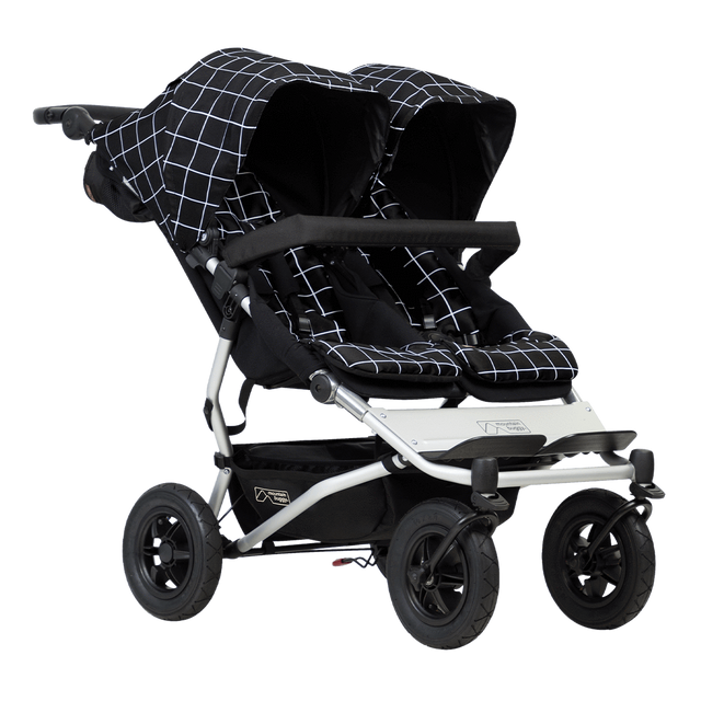 Mountain Buggy duet stroller for twins in black and white grid pattern colour_grid