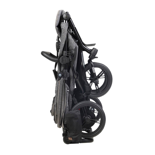 Mountain Buggy luxury duet double stroller in stand fold mode in colour herringbone_herringbone
