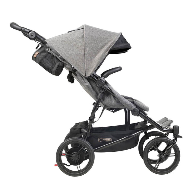Mountain Buggy luxury duet double stroller side view with extended sunhood in colour herringbone_herringbone