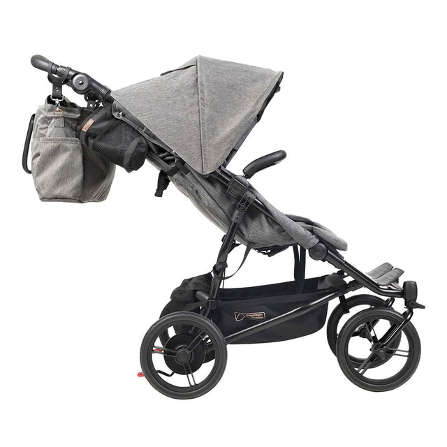Mountain Buggy luxury duet double stroller side view with matching satchel bag in colour herringbone_herringbone