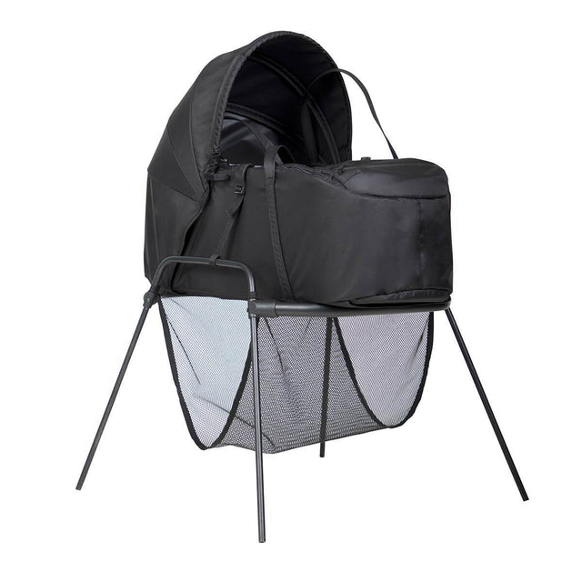 Mountain Buggy newborn cocoon top view with sunhood extended and fully zipped in colour black_black