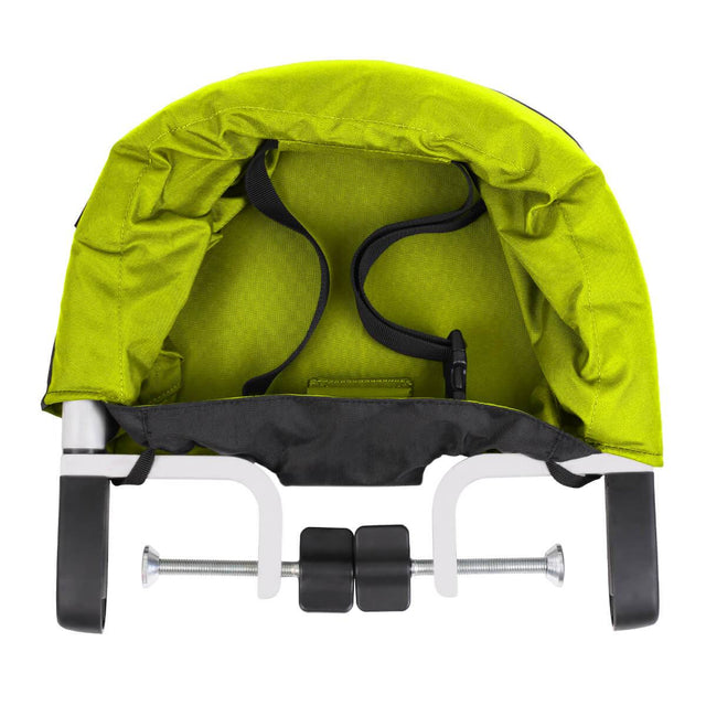 mountain buggy pod chaise haute portable en vert citron vert top down view_lime
